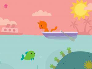 Kissa ja kala kaveeraavat Ocean Swimmer -pelissä.