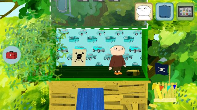 Pelissä rakennetaan ja sisustetaan puumajaa.